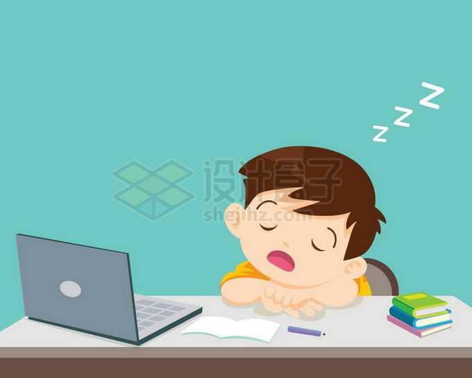 卡通男孩学习累了趴在桌子上睡觉打瞌睡5856961矢量图片免抠素材免费下载