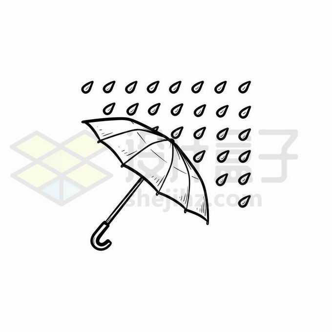 雨伞和雨点大雨天气预报图标手绘线条插画5233499矢量图片免抠素材免费下载