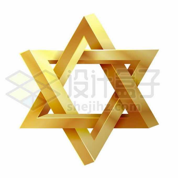3D立体风格金色大卫星六芒星图案6305271矢量图片免抠素材免费下载