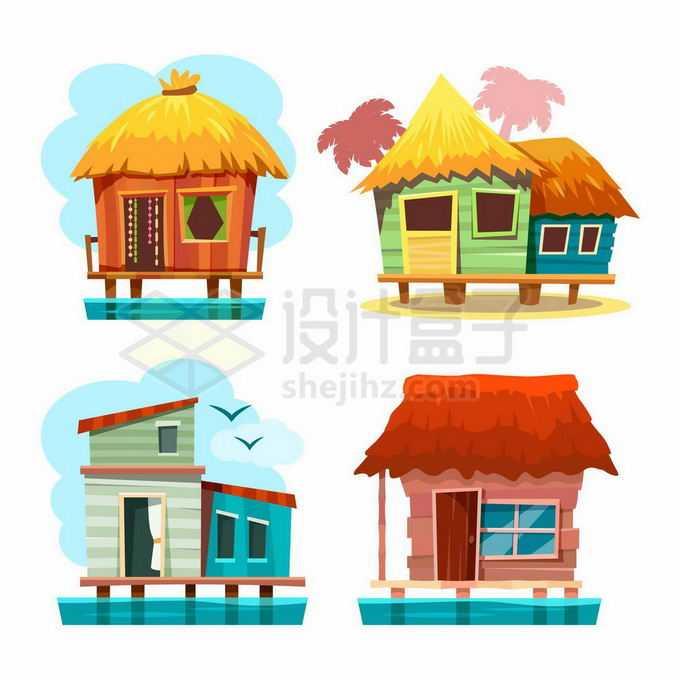 4款卡通水上房屋度假屋8452980矢量图片免抠素材免费下载