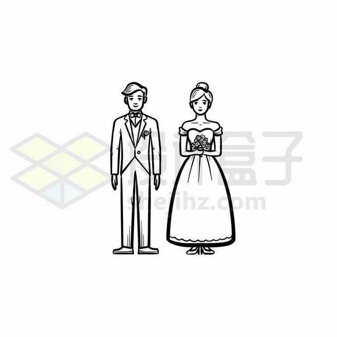 新郎和新娘结婚手绘线条插画1056283矢量图片免抠素材免费下载