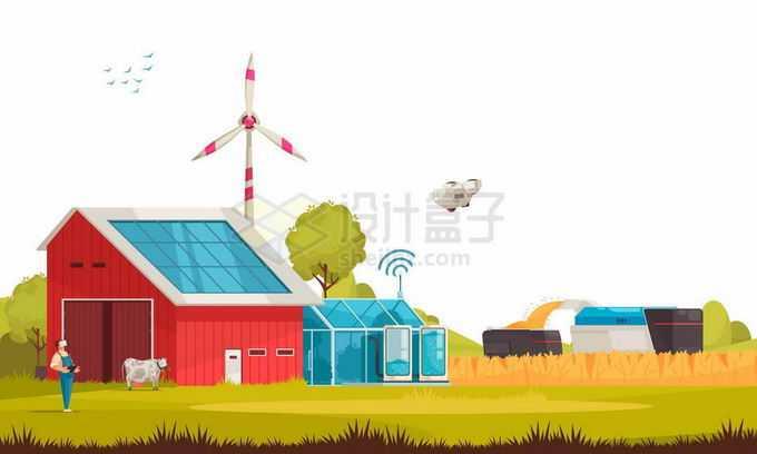 智能农场里的无人农业机械光伏风力发电绿色能源5295655矢量图片免抠素材免费下载