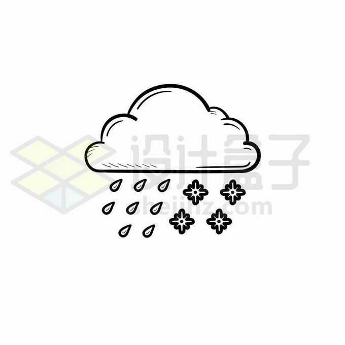 云朵雨点和雪花雨夹雪天气预报图标手绘线条插画7922740矢量图片免抠素材免费下载