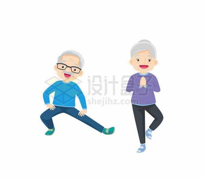 伸展腰腿的卡通老爷爷老奶奶2574257矢量图片免抠素材免费下载