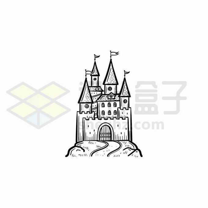 一座城堡手绘线条插画7003827矢量图片免抠素材免费下载