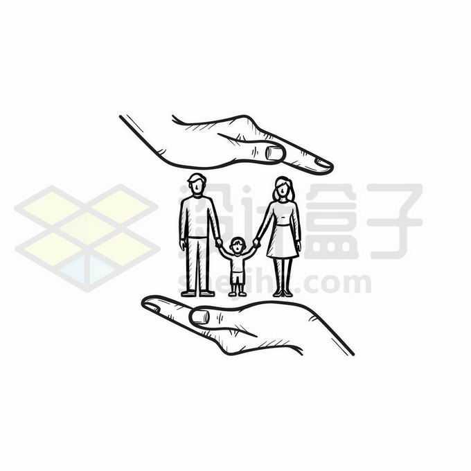 爸爸妈妈和孩子一家三口被双手保护着象征了家庭保险手绘线条插画9216789矢量图片免抠素材免费下载