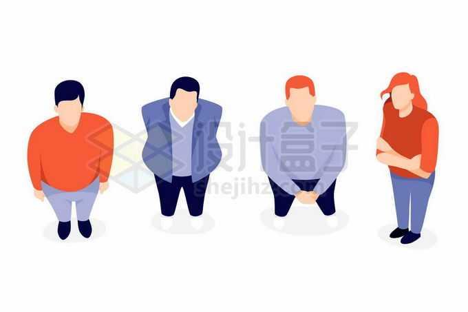 4个商务人士保持着抬头仰望天空姿势扁平化风格3402976矢量图片免抠素材免费下载