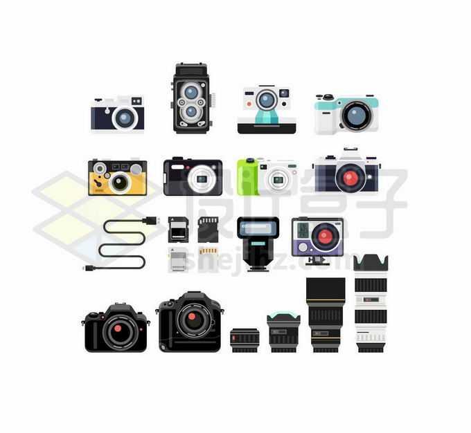 扁平化风格数码照相机和存储卡镜头等单反相机配件1678323矢量图片免抠素材免费下载