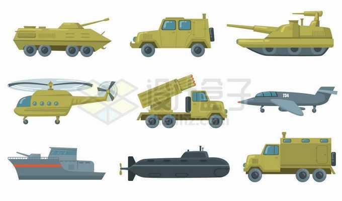 卡通装甲车军用悍马车自行火炮直升机火箭炮战斗机军舰核潜艇等军事装备9810632矢量图片免抠素材免费下载