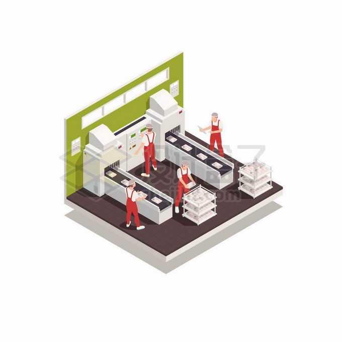 2.5D风格肉联厂食品及工厂生产包装流水线1919890矢量图片免抠素材免费下载