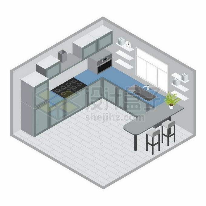 2.5D风格简约装修风格的开放式厨房和餐桌效果图1396579矢量图片免抠素材免费下载