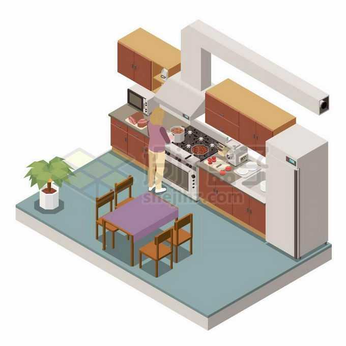 2.5D风格开放式厨房电冰箱抽油烟机管道1007310矢量图片免抠素材免费下载