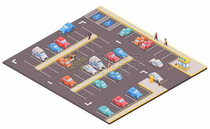 2.5D风格繁忙的收费停车场管理系统9148312矢量图片免抠素材免费下载