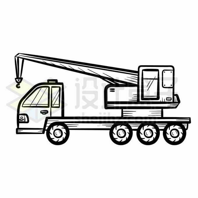 吊车侧视图手绘线条插画1039528矢量图片免抠素材免费下载