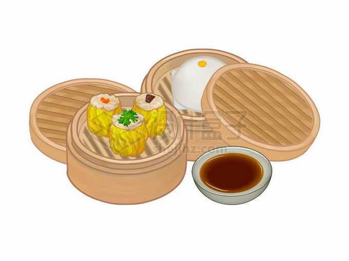 打开的蒸笼里的烧麦和水晶包美味粤式早茶1106241矢量图片免抠素材免费下载