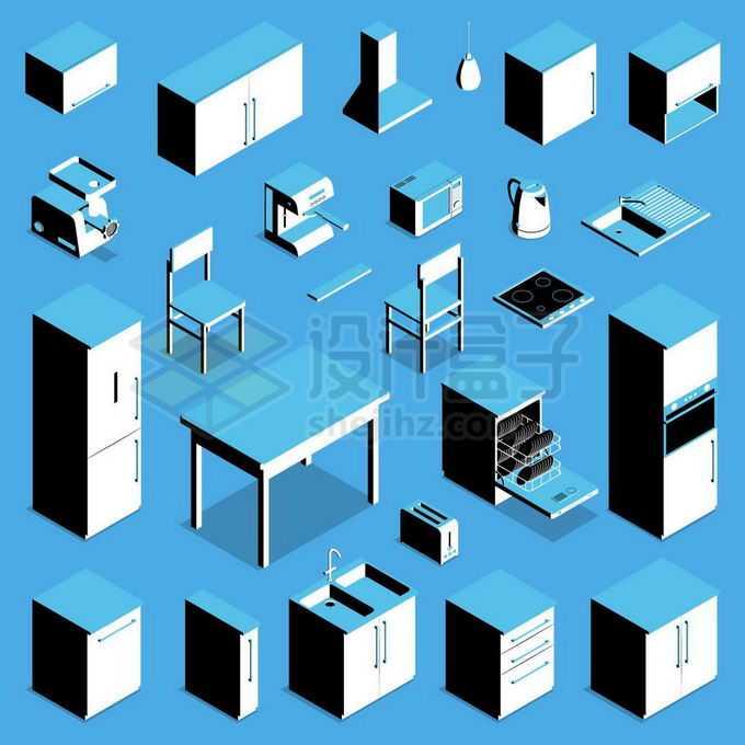 2.5D风格冰箱桌子洗菜池柜子洗碗机等厨房家具用品7793927矢量图片免抠素材免费下载