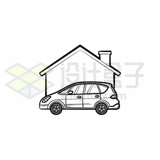 房子和汽车手绘线条插画8589346矢量图片免抠素材免费下载
