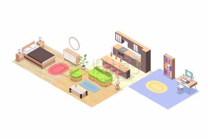 2.5D风格卧室客厅开放式厨房娱乐间等家庭装修效果展示3394918矢量图片免抠素材免费下载