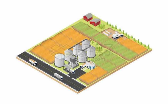 2.5D风格农场中的农田和粮仓以及运输道路9887431矢量图片免抠素材免费下载