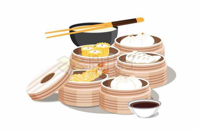 蒸笼里的烧麦包子白粥等粤式早茶4979186矢量图片免抠素材免费下载