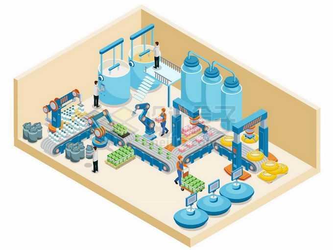 2.5D风格牛奶饮料加工厂生产流水线1967532矢量图片免抠素材免费下载