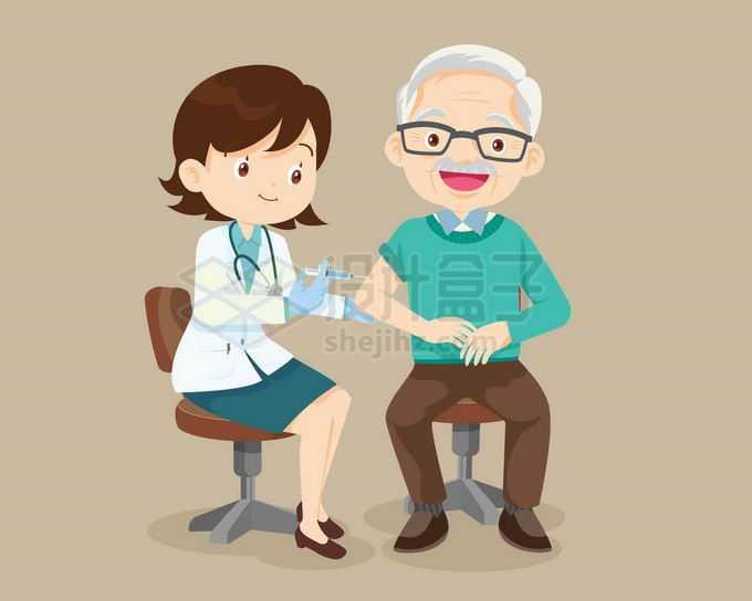 卡通女医生正在给老爷爷打针注射疫苗6682849矢量图片免抠素材免费下载