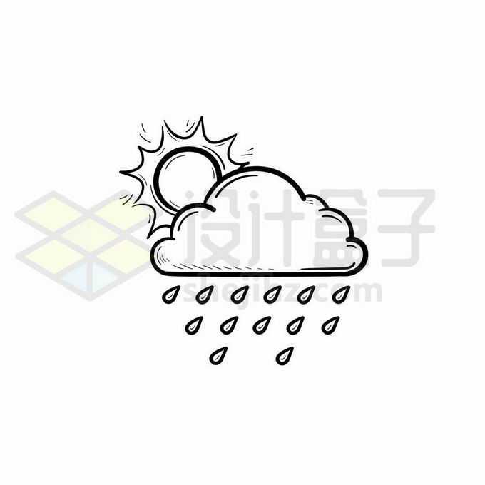 太阳躲在云朵后面雨点晴转多云转雨天气预报图标手绘线条插画9227763矢量图片免抠素材免费下载