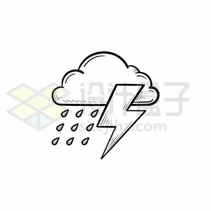 云朵闪电和雨点雷阵雨天气预报图标手绘线条插画1405338矢量图片免抠素材免费下载