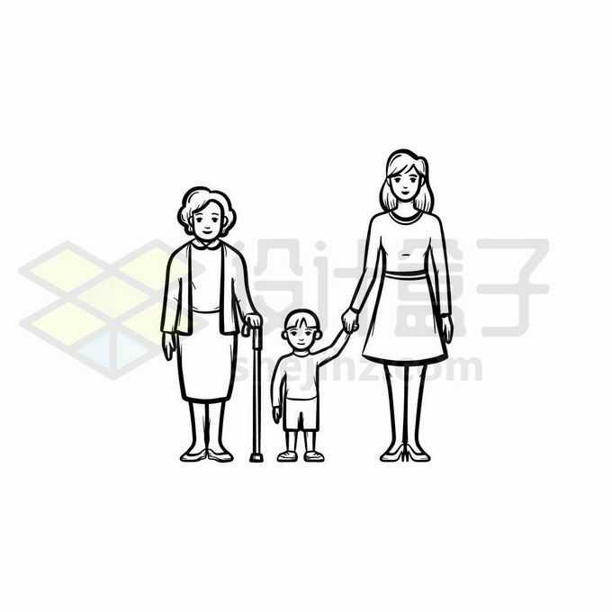 外婆妈妈和孩子祖孙三代手绘线条插画8139239矢量图片免抠素材免费下载