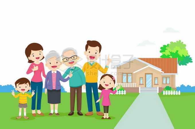 一家六口人参观新买的房子5091801矢量图片免抠素材免费下载