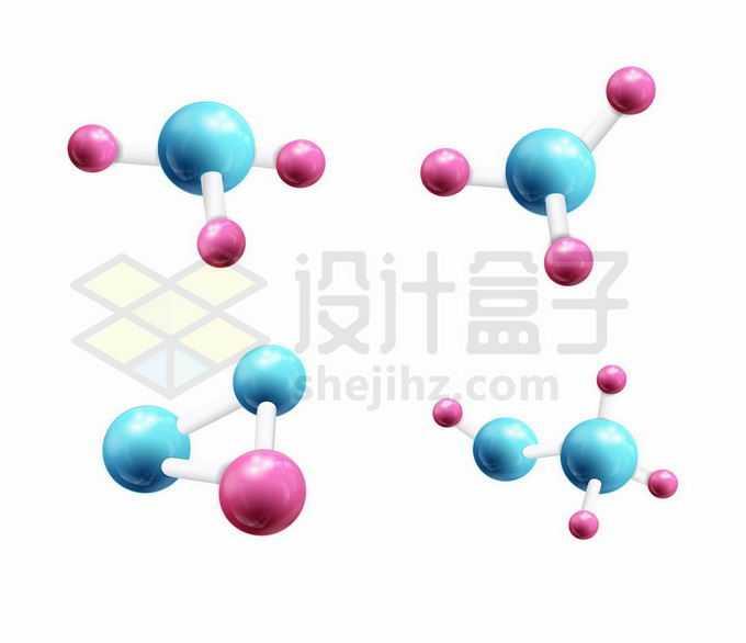 4款3D立体彩色小球风格分子模型9657376矢量图片免抠素材免费下载