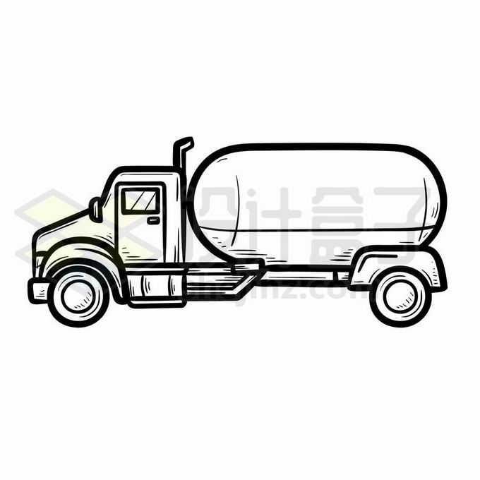 油罐车侧视图手绘线条插画5385186矢量图片免抠素材免费下载