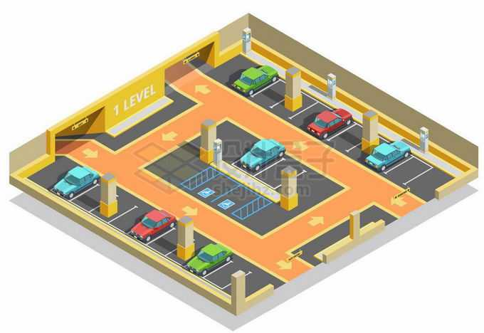 2.5D风格室内停车场效果图3796729矢量图片免抠素材免费下载