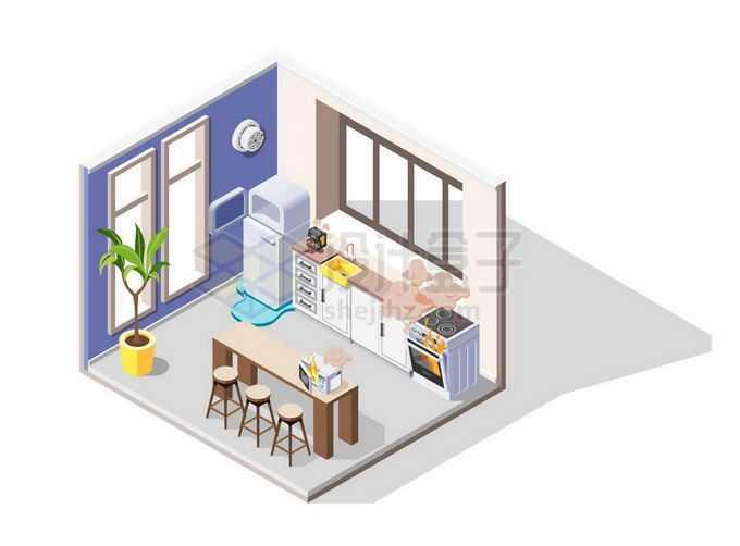 2.5D风格开放式厨房和餐厅4901894矢量图片免抠素材免费下载