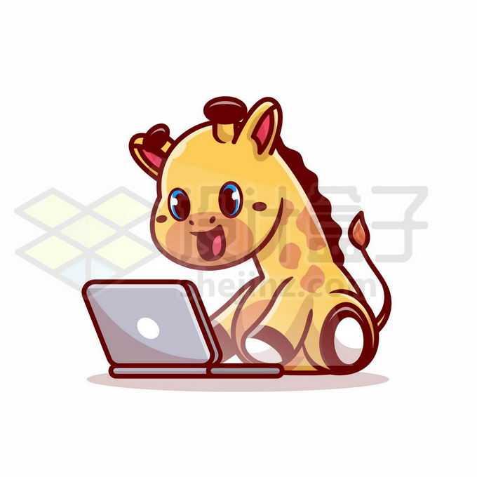 超可爱的卡通长颈鹿玩笔记本电脑4934199矢量图片免抠素材免费下载