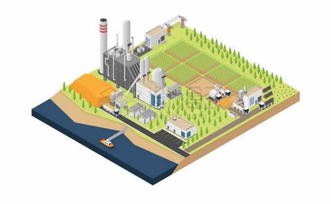 2.5D风格农场中的农田和粮食加工厂以及运输码头5064082矢量图片免抠素材免费下载