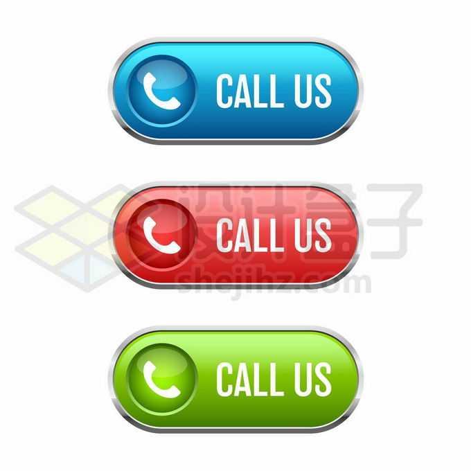 蓝色红色绿色拨打电话联系我们水晶按钮1998858矢量图片免抠素材免费下载
