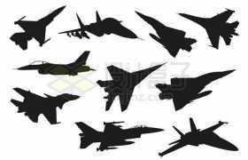 F16苏27歼15F18等战斗机剪影8995655矢量图片免抠素材免费下载