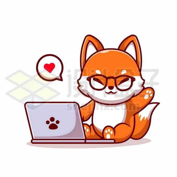 超可爱卡通狐狸玩电脑1071214矢量图片免抠素材免费下载