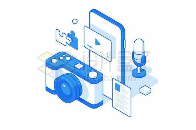 2.5D风格蓝色照相机和手机插画9968819矢量图片免抠素材免费下载