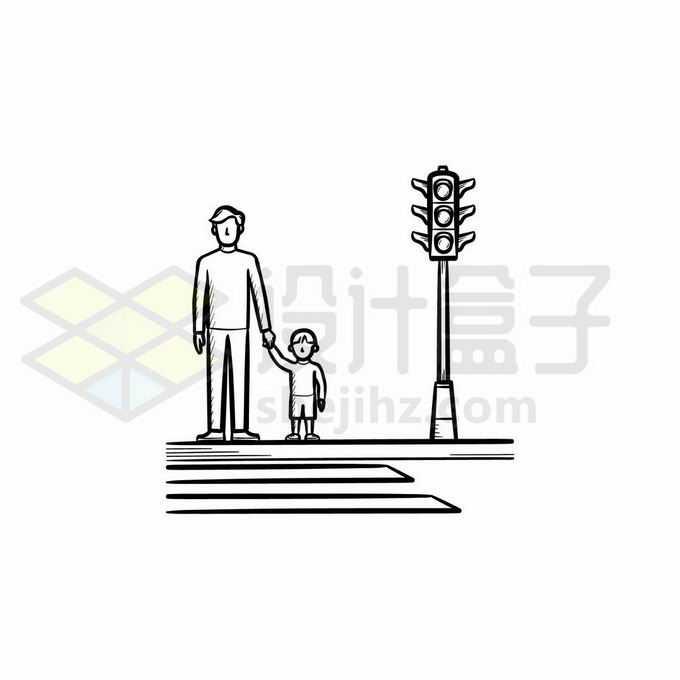 爸爸牵着孩子的手等红绿灯过马路遵守交通规则手绘线条插画3170543矢量图片免抠素材免费下载