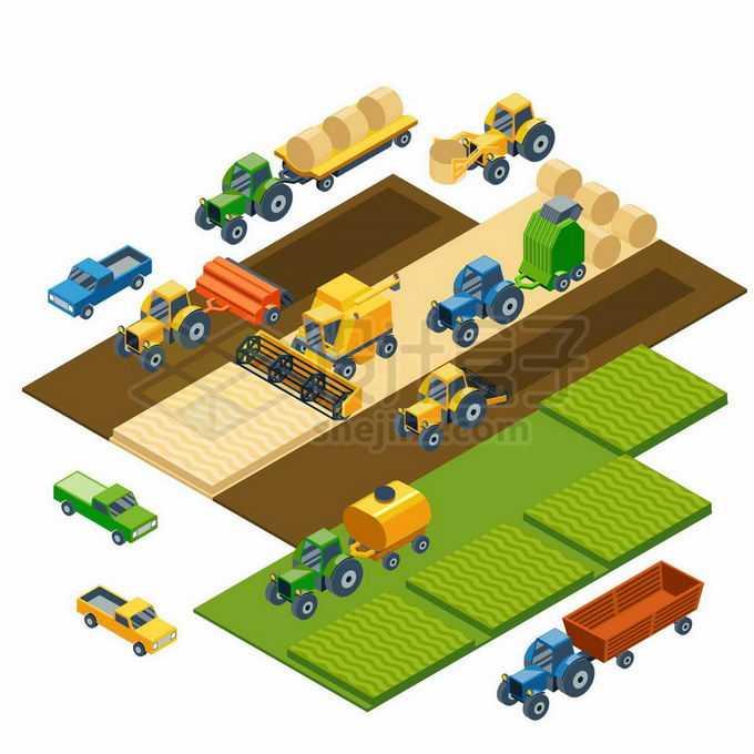 2.5D风格丰收农忙的联合收割机正在收割麦子水稻耕田9656500矢量图片免抠素材免费下载
