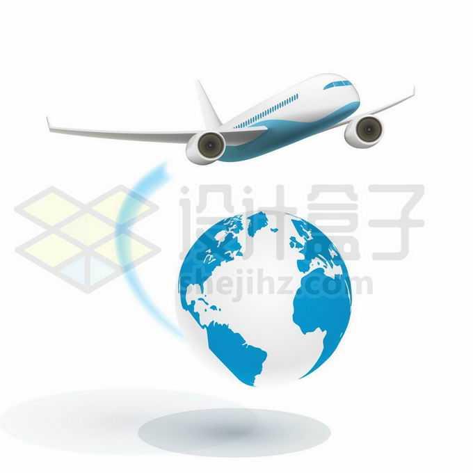 飞跃蓝色地球的大型客机飞机象征环球旅行4010608矢量图片免抠素材免费下载