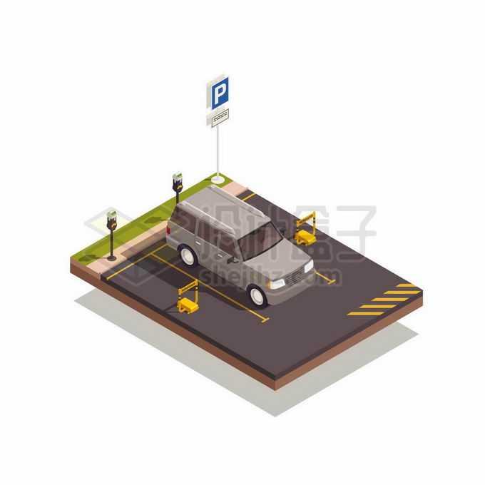 2.5D风格标准化的停车场的停车位上停着一辆汽车6105785矢量图片免抠素材免费下载
