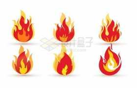 6款卡通火焰图案3449176矢量图片免抠素材免费下载
