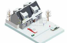 2.5D风格冬天被厚厚积雪覆盖的房屋和汽车8110136矢量图片免抠素材免费下载