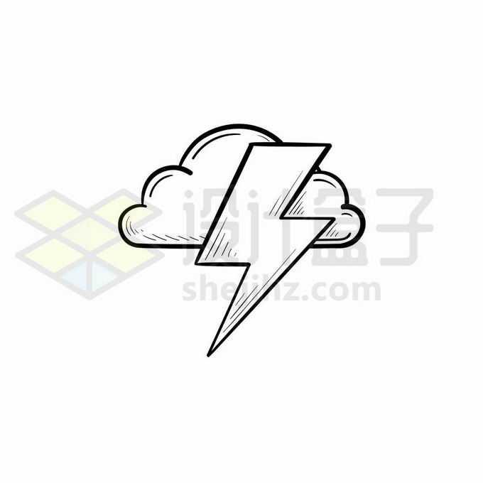 云朵和闪电雷电天气预报图标手绘线条插画4758908矢量图片免抠素材免费下载