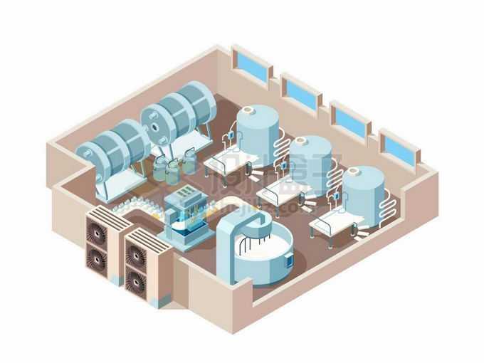 2.5D风格牛奶加工厂房食品加工厂设施7568517矢量图片免抠素材免费下载
