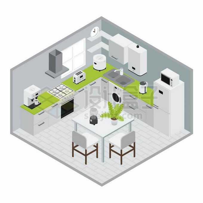 2.5D风格绿色简约风格开放式厨房和餐桌装修效果图8522247矢量图片免抠素材免费下载