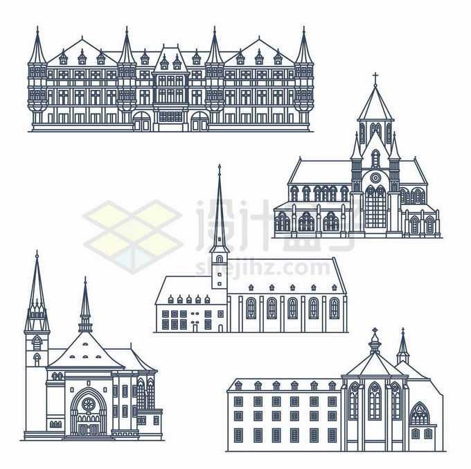5款哥特式建筑西方建筑线条插画6092567矢量图片免抠素材免费下载